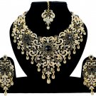 Indian Jewellery Black Princess Wedding Gold Tone AD Bollywood Necklace Set