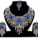 Indian Jewellery Blue Princess Wedding Gold Tone AD Bollywood Necklace Set