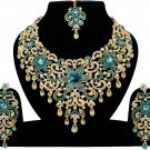 Indian Jewellery Turquoise Princess Wedding Gold Tone AD Bollywood Necklace Set
