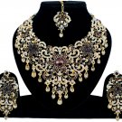 Indian Jewellery Wine Purple Princess Wedding Gold Tone AD Bollywood Necklace Set
