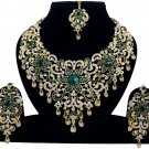Indian Jewellery Green Princess Wedding Gold Tone AD Bollywood Necklace Set