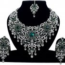 Indian Jewelry Green Princess Wedding Silver Plated AD Bollywood Necklace Set