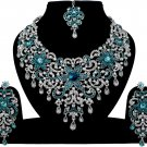 Indian Jewelry Turquoise Princess Wedding Silver Plated AD Bollywood Necklace Set