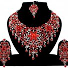 Indian Jewelry Red Princess Wedding Silver Plated AD Bollywood Necklace Set