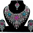 Indian Jewelry Magenta Turquoise Princess Wedding Silver Plated AD Bollywood Necklace Set