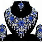 Indian Jewelry Blue Princess Wedding Silver Plated AD Bollywood Necklace Set