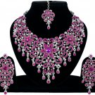 Indian Jewelry Magenta Princess Wedding Silver Plated AD Bollywood Necklace Set