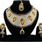 Choker Indian Traditional Wedding Bridal Kundan Jewelry CZ Gold Plated Necklace Set Wine-Purple