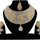 Choker Indian Jewelry Set, Traditional Jewelry, Wedding Bridal Kundan Jewelry CZ Gold Plated White