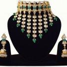 Choker Pearl Bollywood Bridal Jewelry, Indian Jewelry Neclace Set, Traditional Kundan Jewelry Green