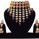 Choker Pearl Bollywood Bridal Jewelry, Indian Jewelry Neclace Set, Traditional Kundan Jewelry Maroon