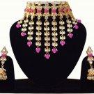 Choker Pearl Bollywood Bridal Jewelry, Indian Jewelry Neclace Set, Traditional Kundan JewelryMagenta