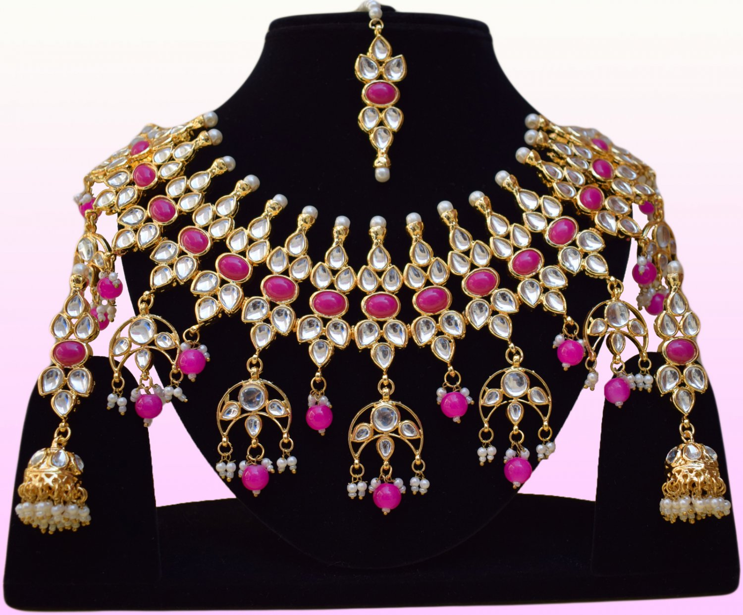 Indian Bollywood Bridal Ruby Pearl Jewelry Set, Indian Designer Stone Necklace Kundan Jewelry