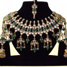Indian Bollywood Bridal Emerald Pearl Jewelry Set, Indian Designer Stone Kundan Jewelry Green