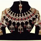 Indian Bollywood Bridal Pearl Jewelry Set, Indian Designer Stone Kundan Jewelry Maroon