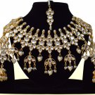 Indian Bollywood Bridal Pearl Jewelry Set, Indian Designer Stone Kundan Jewelry White