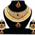 Indian Bridal Pearl Bollywood Wedding Stylish Jewelry Zircon Kundan Necklace Set Maroon-Green
