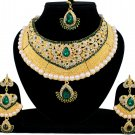 Indian Bridal Pearl Bollywood Wedding Stylish Jewelry Zircon Kundan Jewellery  Necklace Set Green