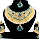 Indian Bridal Pearl Bollywood Wedding Stylish Jewelry Zircon Kundan Jewellery Necklace Set Turquoise