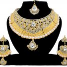 Indian Bridal Pearl Bollywood Wedding Stylish Jewelry Zircon Kundan Jewellery Necklace Set White