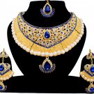Indian Bridal Pearl Bollywood Wedding Stylish Jewelry Zircon Kundan Jewellery Necklace Set Blue