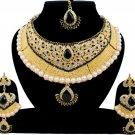 Indian Bridal Pearl Bollywood Wedding Stylish Jewelry Zircon Kundan Jewellery Necklace Set Black