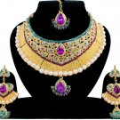 Indian Bridal Pearl Bollywood Wedding Stylish Jewelry Zircon Kundan Necklace Set Magenta-Turquoise