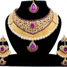 Indian Bridal Pearl Bollywood Wedding Stylish Jewelry Zircon Kundan Jewellery Necklace Set Magenta