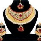 Indian Bridal Pearl Bollywood Wedding Stylish Jewelry Zircon Kundan Jewellery Necklace Set Red
