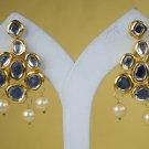 Chandelier Earrings Indian Bridal Traditional Crystal Engagement Goldplated Pearl Meena Kundan 311