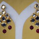Chandelier Earrings Indian Bridal Traditional Crystal Engagement Goldplated Ruby Meena Kundan 311