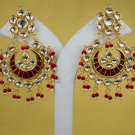 Indian Trendy Statement Earrings, Goldplated Kundan Earrings Set, Meena Kundan Earrings Pair Maroon