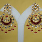 Statement Earrings, Goldplated Kundan Earrings Set, Meena Kundan Earrings Pair Maroon 304