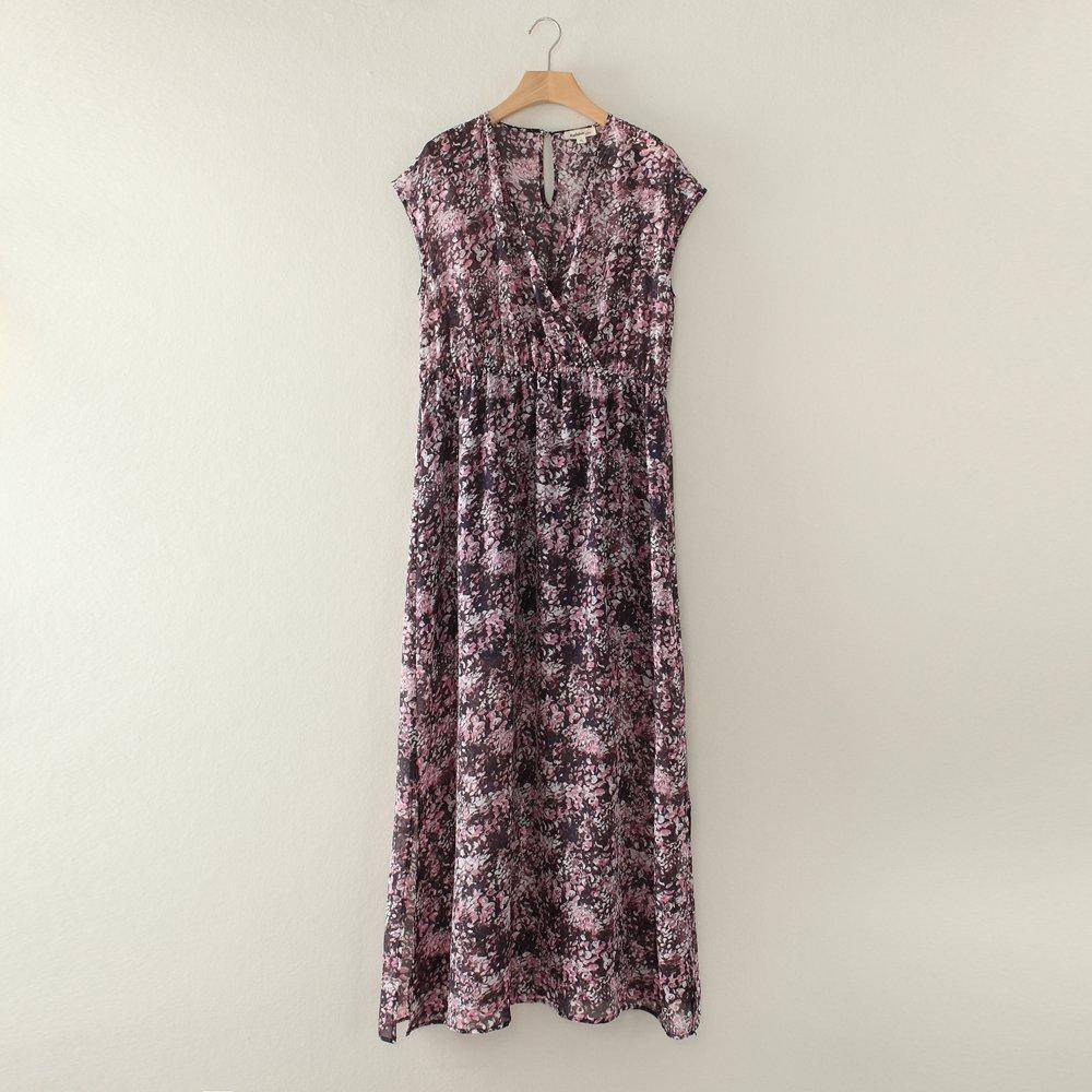 ON SALE V neck wrap silk chiffon maxi dress-XL