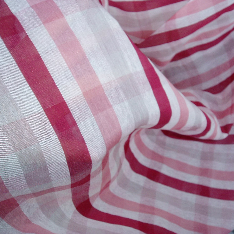 Silk cotton organza organdy fabric pink stripe sheer summer wear curtain fabric
