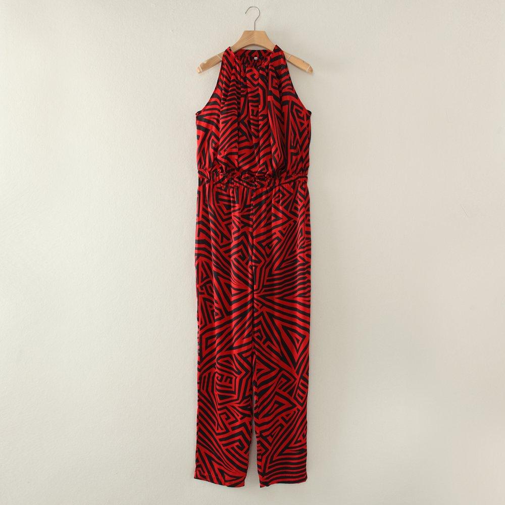 Flowy jumpsuits for women long geometrical pattern M