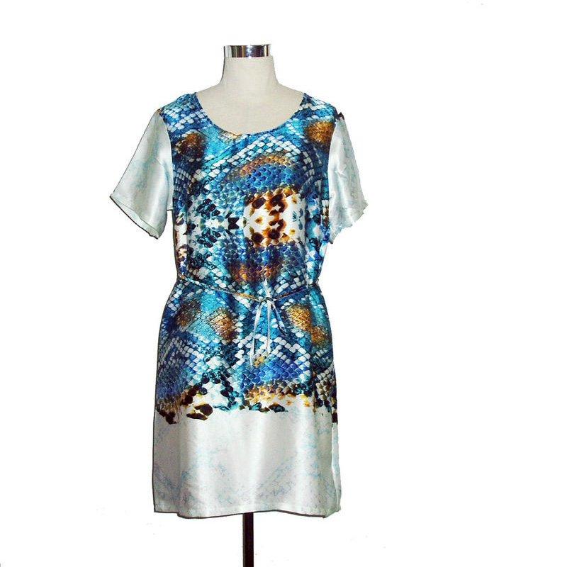 Snake print silk dress short sleeve tie waist M