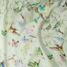 silk crepe de chine bird and butterfly print pattern 44 inch 14 momme  sewing apparel fabric