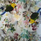 "digital print  silk satin faced organza fabric parrot flower sheer stiff 54""  apparel fabric"