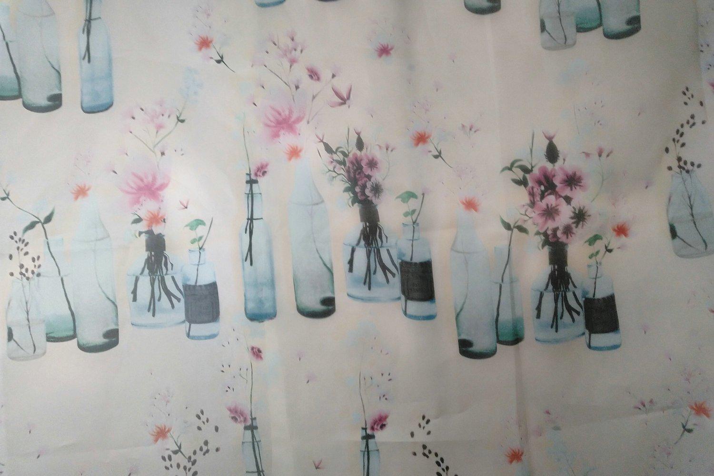 flower vase print silk satin oraganza fabric stiff 138cm high fashion fabric