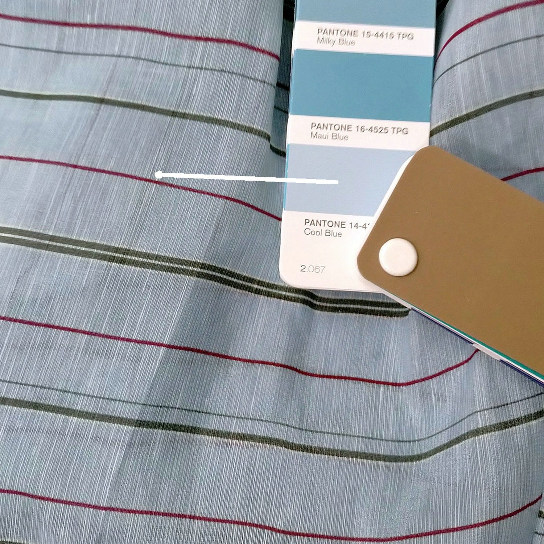 "silk linen blend fabric thin stripe cool light blue 55"" wide sewing apparel fabric"