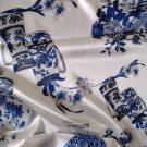 stretch silk charmeuse fabric blue and white porcelain pattern hign end apparel fabric