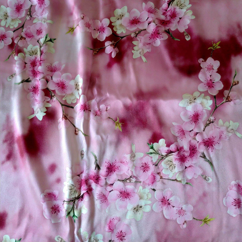 Printed  stretch silk charmeuse fabric  pink flower DIY sewing cheongsam fabric online
