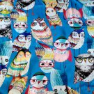 stretch silk charmeuse owl print fabric blue 19momme fashion apparel fabric