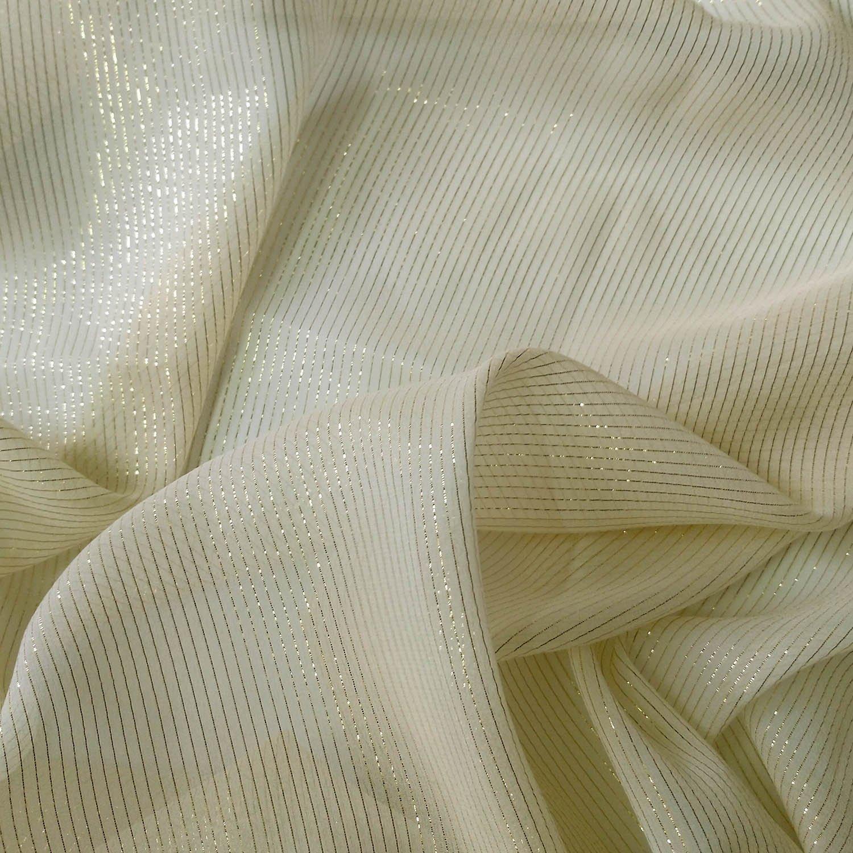 gold metallic silk georgette fabric 110cm sheer light  DIY fashion apparel fabric