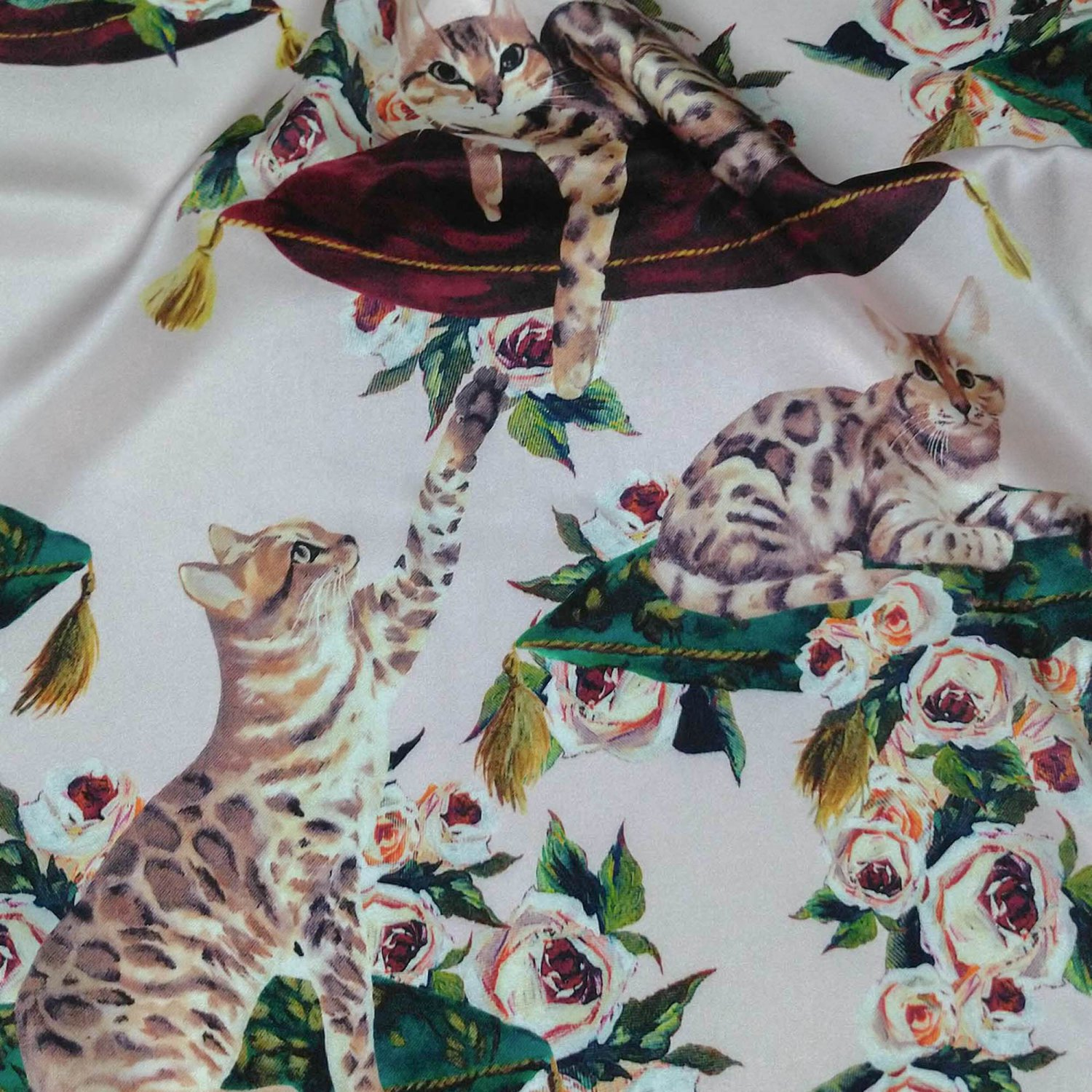 cat print stretch silk charmeuse fabric 19mm rosewater pink sell by meter
