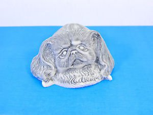 Pressed marble stone crumb Pekingese dog figurine