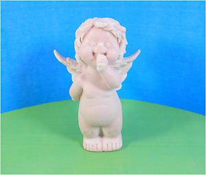 Pink Colored Pressed marble stone crumb Angel boy figurine from Russia