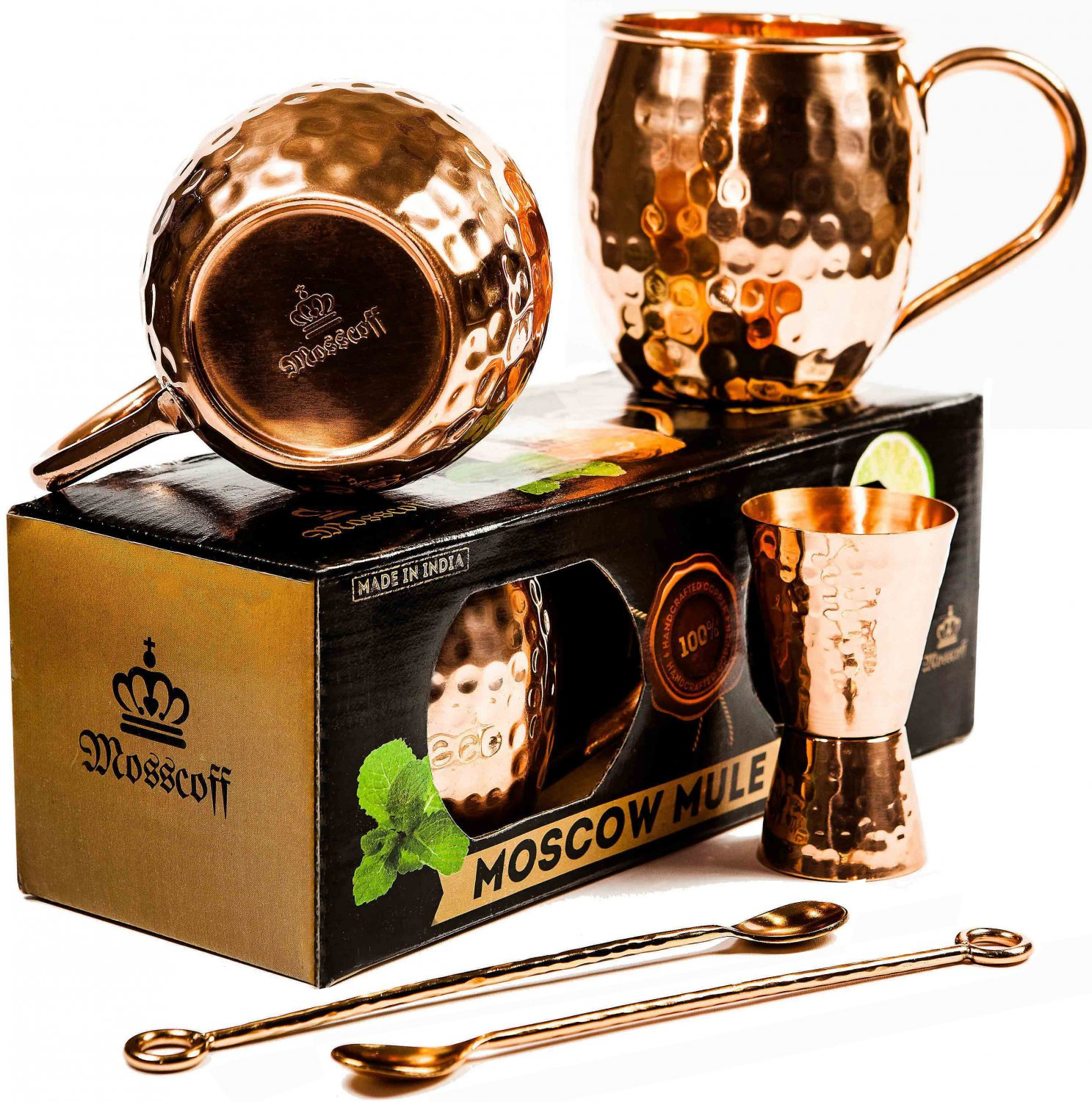Moscow Mule copper mugs gift set by Mosscoff.