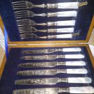 Flatware FRUIT SEAFOOD Silverplate MOP Antique Box Mother of Pearl